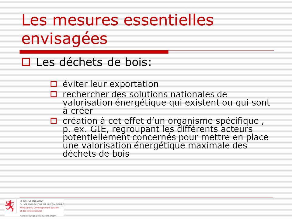 Les mesures essentielles envisagées Les déchets de bois: éviter leur exportation rechercher des solutions nationales de valorisation énergétique qui existent ou qui sont à créer création à cet effet dun organisme spécifique, p.