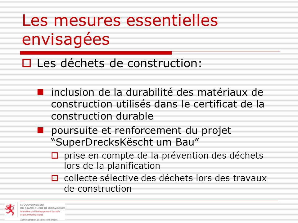 Les mesures essentielles envisagées Les déchets de construction: inclusion de la durabilité des matériaux de construction utilisés dans le certificat