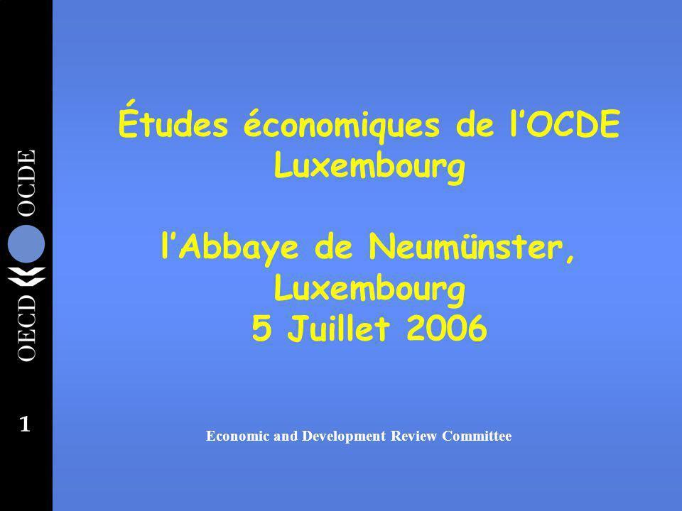 1 Études économiques de lOCDE Luxembourg lAbbaye de Neumünster, Luxembourg 5 Juillet 2006 Economic and Development Review Committee