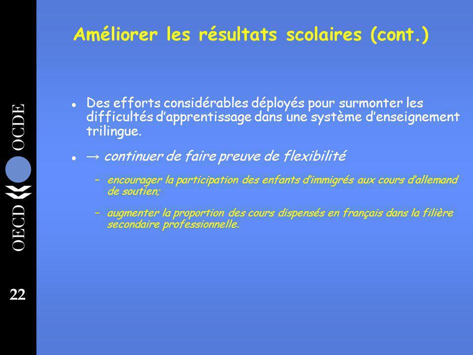 22 l Des efforts considérables déployés pour surmonter les difficultés dapprentissage dans une système denseignement trilingue.