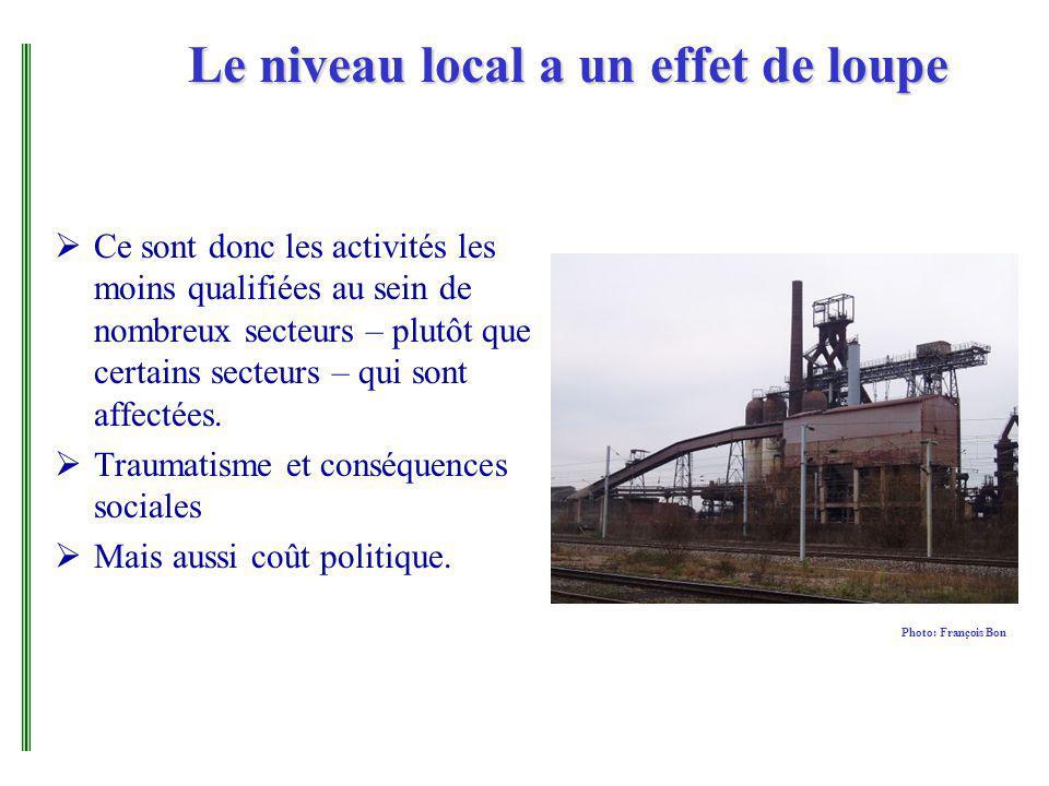 Le niveau local a un effet de loupe Ce sont donc les activités les moins qualifiées au sein de nombreux secteurs – plutôt que certains secteurs – qui