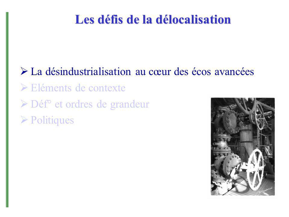 Les défis de la délocalisation La désindustrialisation au cœur des écos avancées Eléments de contexte Déf° et ordres de grandeur Politiques