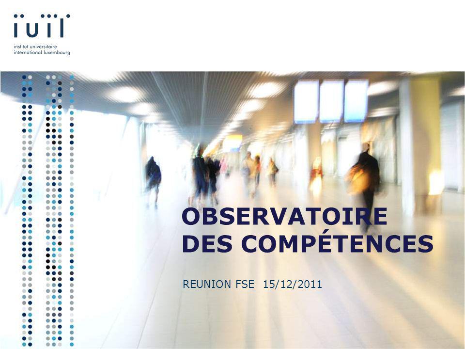 OBSERVATOIRE DES COMPÉTENCES REUNION FSE 15/12/2011