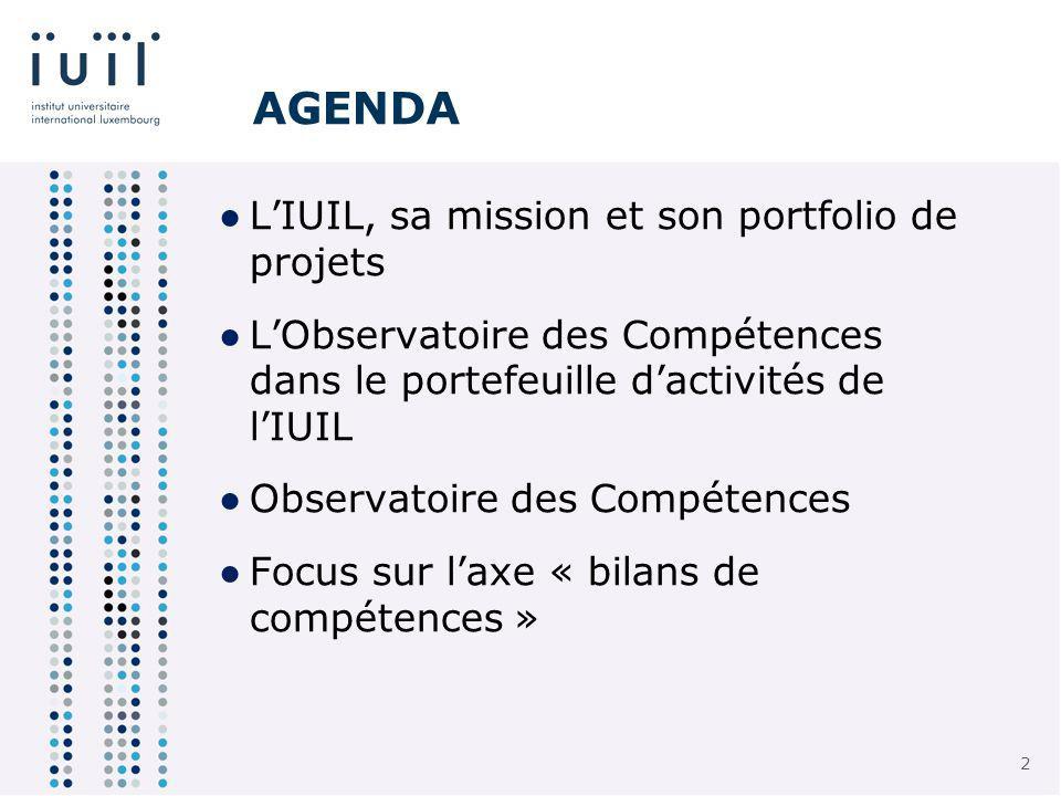 2 2 AGENDA LIUIL, sa mission et son portfolio de projets LObservatoire des Compétences dans le portefeuille dactivités de lIUIL Observatoire des Compétences Focus sur laxe « bilans de compétences »