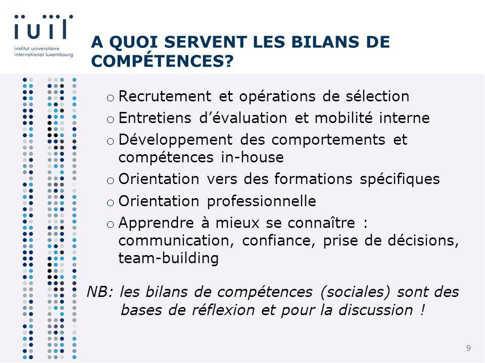 9 9 A QUOI SERVENT LES BILANS DE COMPÉTENCES.
