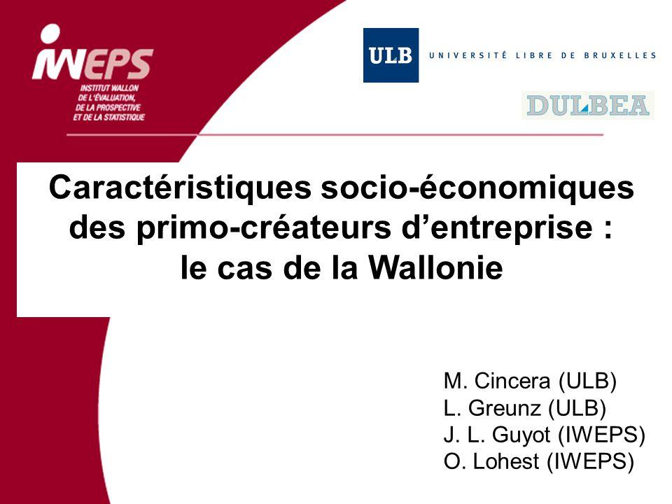 Caractéristiques socio-économiques des primo-créateurs dentreprise : le cas de la Wallonie M. Cincera (ULB) L. Greunz (ULB) J. L. Guyot (IWEPS) O. Loh