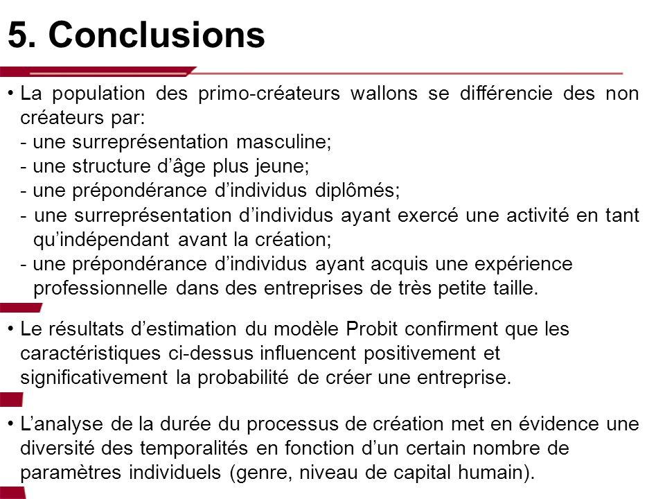 5. Conclusions La population des primo-créateurs wallons se différencie des non créateurs par: - une surreprésentation masculine; - une structure dâge