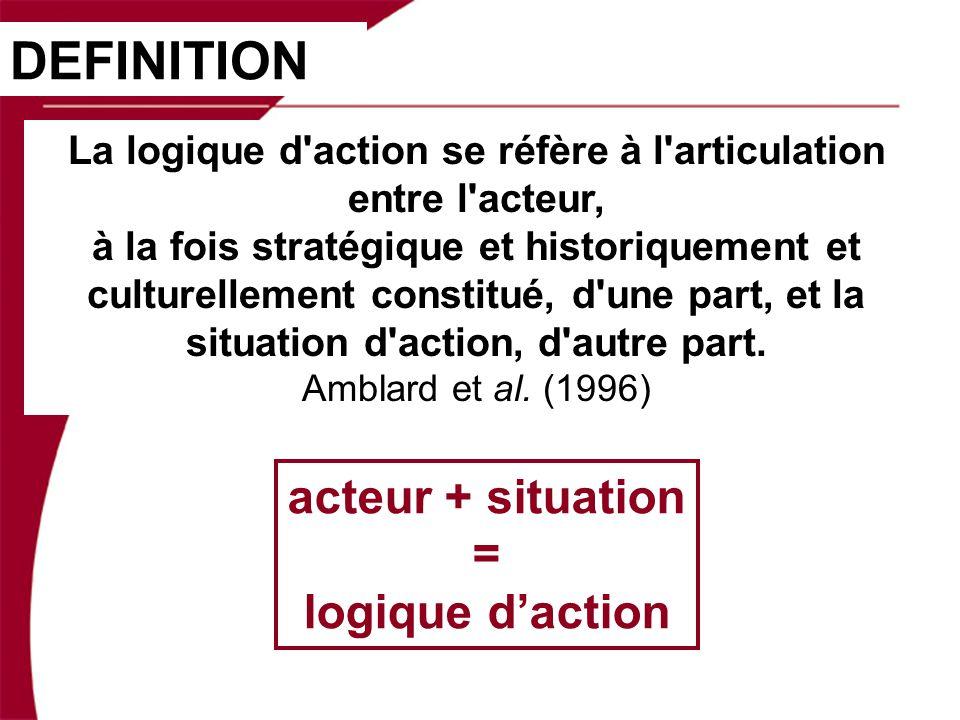 La logique d action se réfère à l articulation entre l acteur, à la fois stratégique et historiquement et culturellement constitué, d une part, et la situation d action, d autre part.