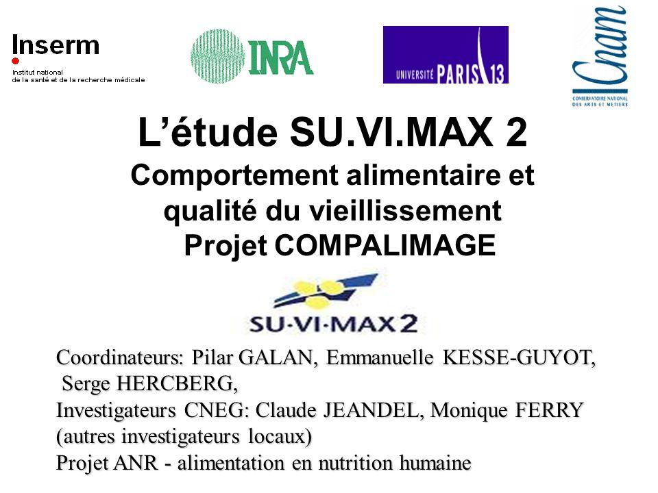 Létude SU.VI.MAX 2 Comportement alimentaire et qualité du vieillissement Projet COMPALIMAGE Coordinateurs: Pilar GALAN, Emmanuelle KESSE-GUYOT, Serge