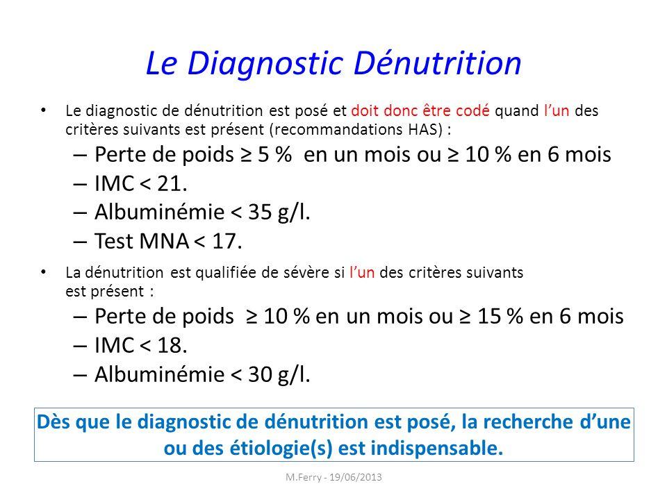 Le Diagnostic Dénutrition Le diagnostic de dénutrition est posé et doit donc être codé quand lun des critères suivants est présent (recommandations HA