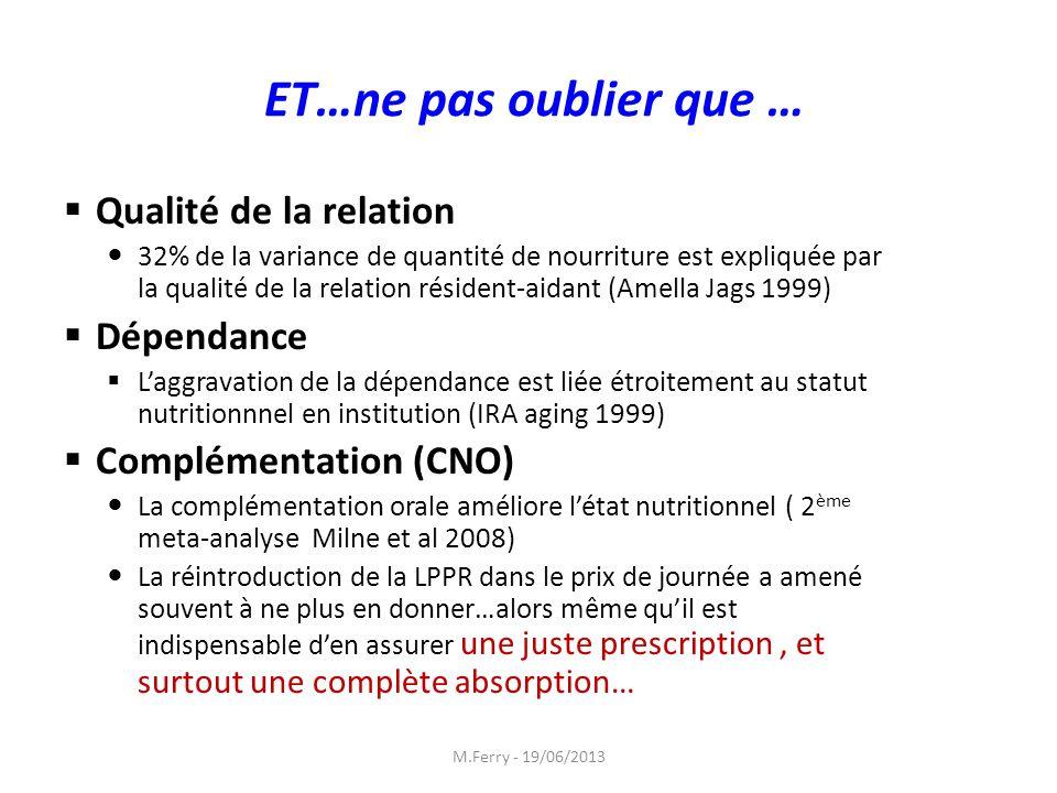 ET…ne pas oublier que … Qualité de la relation 32% de la variance de quantité de nourriture est expliquée par la qualité de la relation résident-aidan