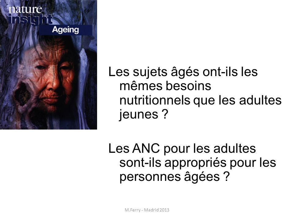 Apports nutritionnels conseillés (ANC) pour la population âgée Apports énergétiques Dépense énergétique de repos Dépense énergétique liée à la thermogenèse Dépense énergétique liée à l activité physique Dépense énergétique totale > 36 kcal/kg/j (Pour 60 kg : 2160 kcal/j) ANC 2001 M.Ferry - 19/06/2013