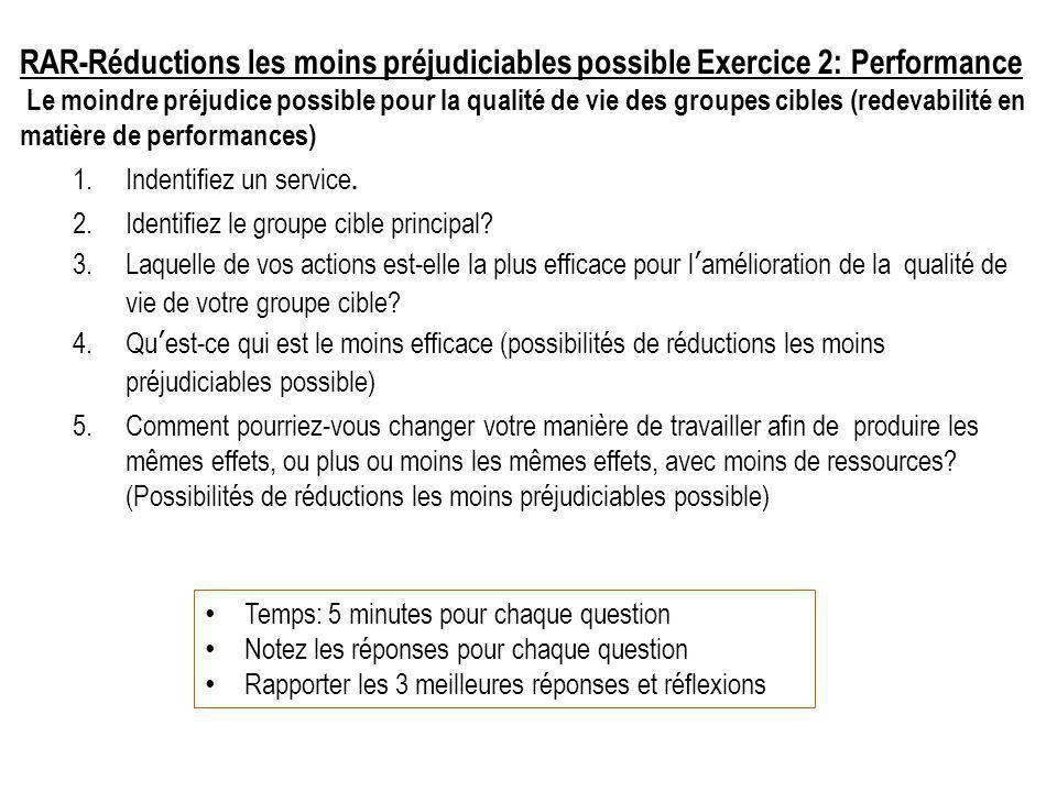 RAR-Réductions les moins préjudiciables possible Exercice 2: Performance Le moindre préjudice possible pour la qualité de vie des groupes cibles (redevabilité en matière de performances) 1.Indentifiez un service.