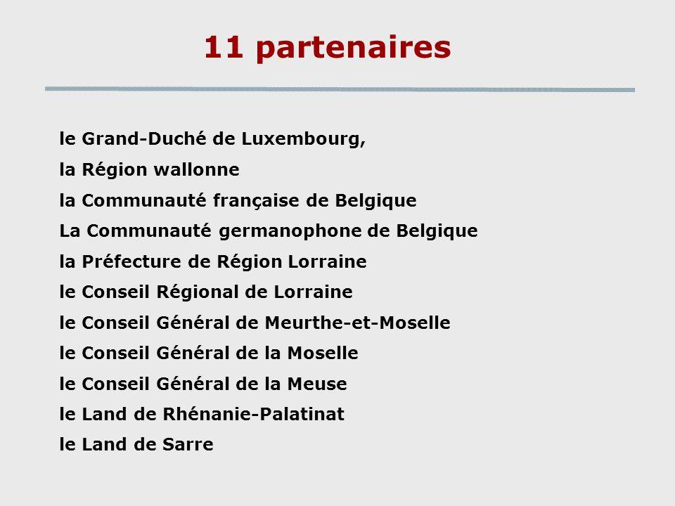 11 partenaires le Grand-Duché de Luxembourg, la Région wallonne la Communauté française de Belgique La Communauté germanophone de Belgique la Préfectu