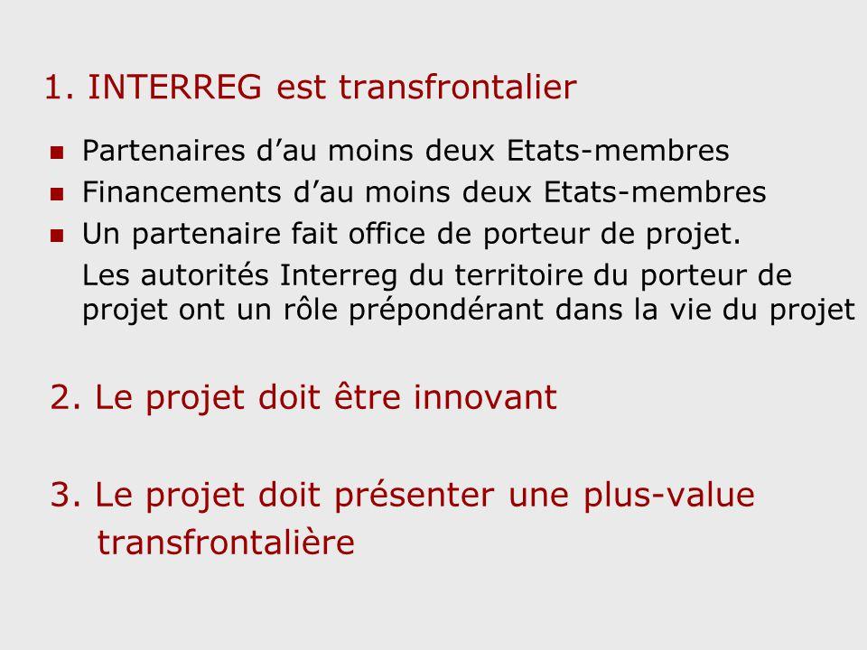 1. INTERREG est transfrontalier Partenaires dau moins deux Etats-membres Financements dau moins deux Etats-membres Un partenaire fait office de porteu