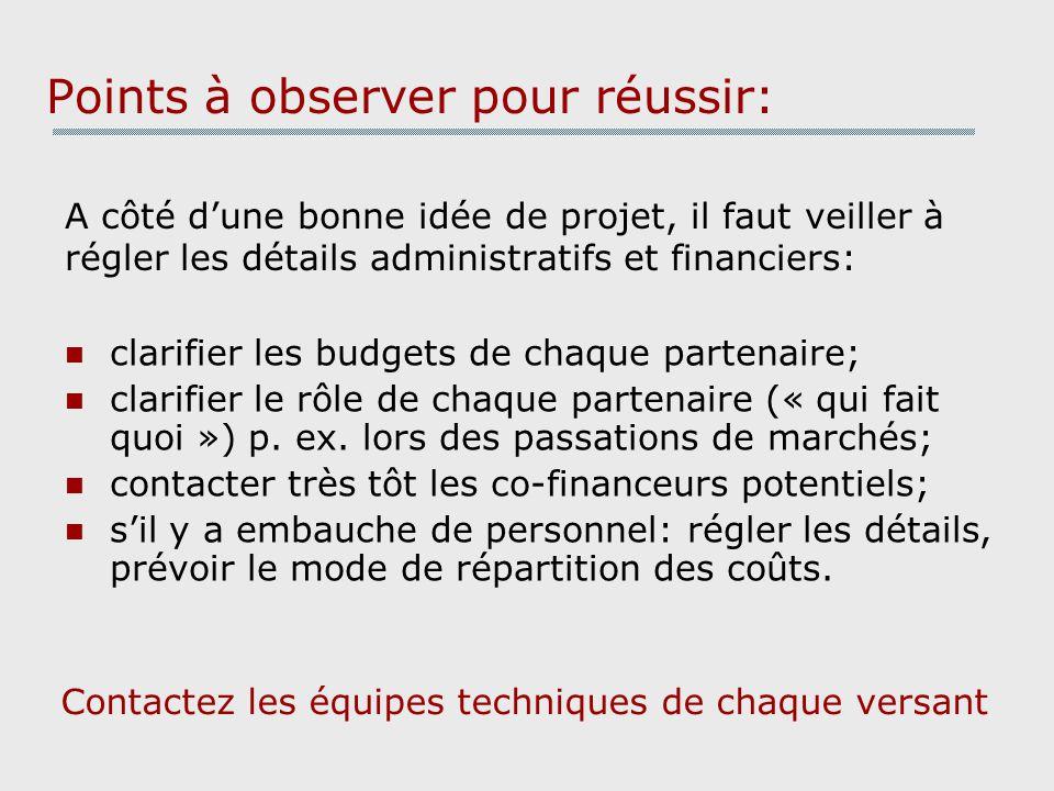 Points à observer pour réussir: A côté dune bonne idée de projet, il faut veiller à régler les détails administratifs et financiers: clarifier les budgets de chaque partenaire; clarifier le rôle de chaque partenaire (« qui fait quoi ») p.