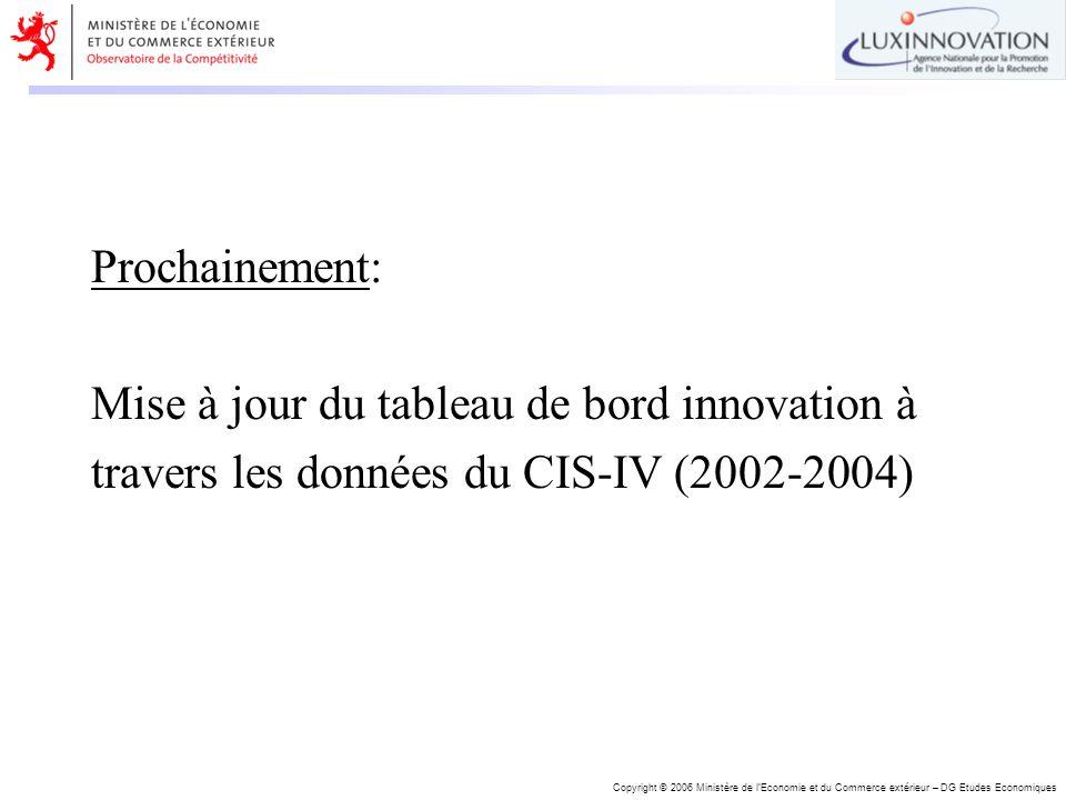 Copyright © 2006 Ministère de lEconomie et du Commerce extérieur – DG Etudes Economiques Prochainement: Mise à jour du tableau de bord innovation à tr