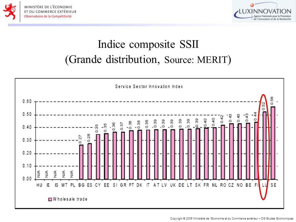 Copyright © 2006 Ministère de lEconomie et du Commerce extérieur – DG Etudes Economiques Indice composite SSII (Grande distribution, Source: MERIT )