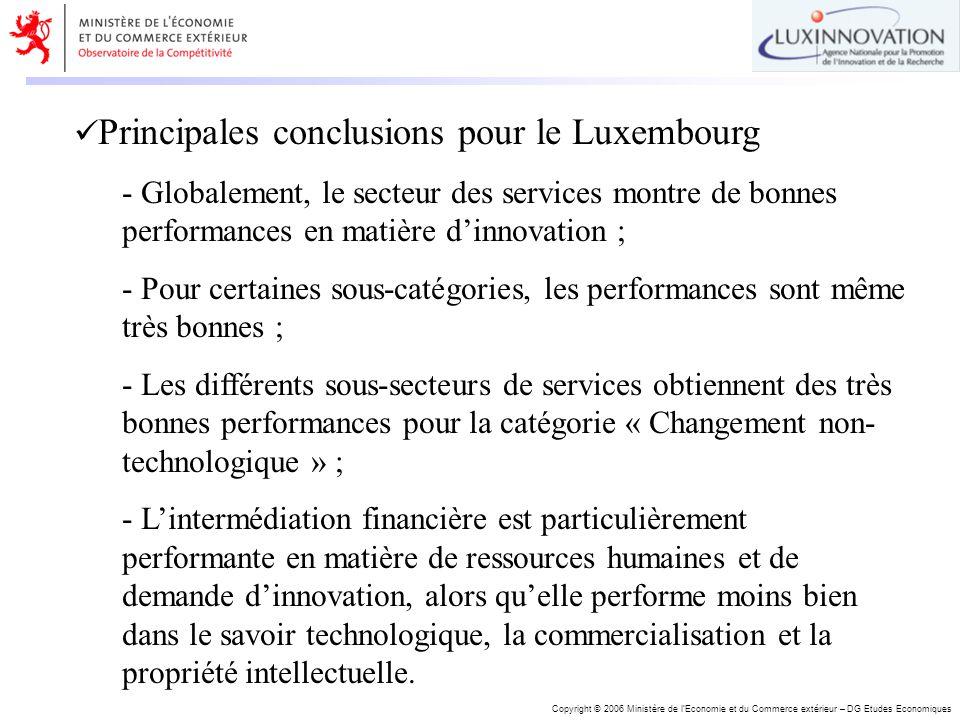 Copyright © 2006 Ministère de lEconomie et du Commerce extérieur – DG Etudes Economiques Principales conclusions pour le Luxembourg - Globalement, le