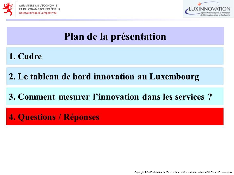Copyright © 2006 Ministère de lEconomie et du Commerce extérieur – DG Etudes Economiques Plan de la présentation 1. Cadre 2. Le tableau de bord innova