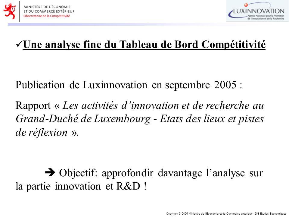 Copyright © 2006 Ministère de lEconomie et du Commerce extérieur – DG Etudes Economiques Une analyse fine du Tableau de Bord Compétitivité Publication