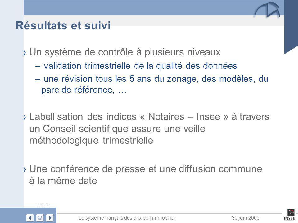 Page 12 Le système français des prix de limmobilier30 juin 2009 Résultats et suivi Un système de contrôle à plusieurs niveaux – validation trimestriel