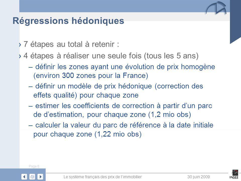 Page 8 Le système français des prix de limmobilier30 juin 2009 Régressions hédoniques 7 étapes au total à retenir : 4 étapes à réaliser une seule fois