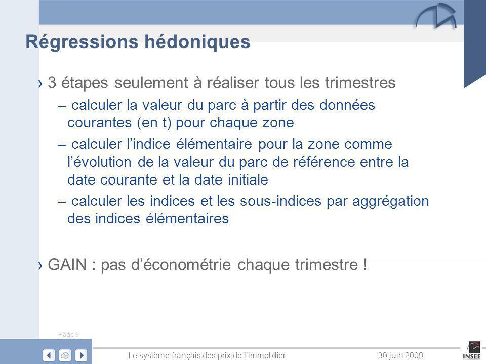 Page 9 Le système français des prix de limmobilier30 juin 2009 Régressions hédoniques 3 étapes seulement à réaliser tous les trimestres – calculer la