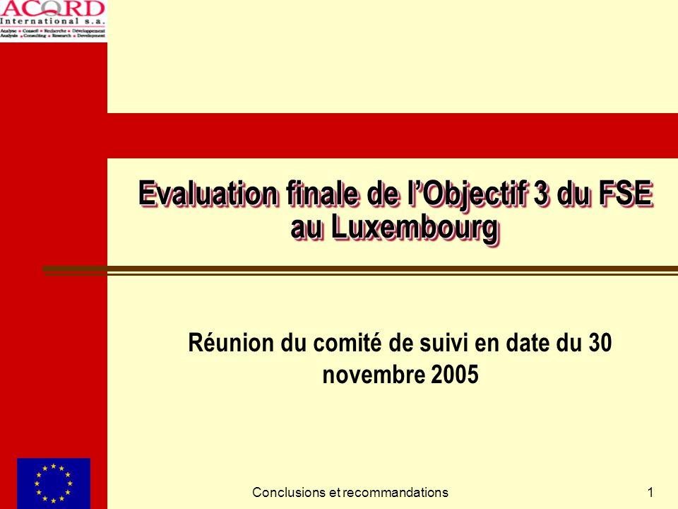 Conclusions et recommandations1 Evaluation finale de lObjectif 3 du FSE au Luxembourg Réunion du comité de suivi en date du 30 novembre 2005
