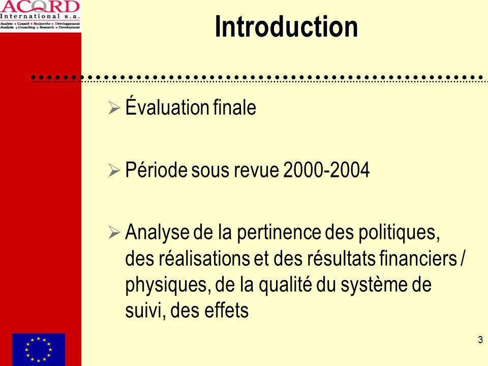 3 Introduction Évaluation finale Période sous revue 2000-2004 Analyse de la pertinence des politiques, des réalisations et des résultats financiers /