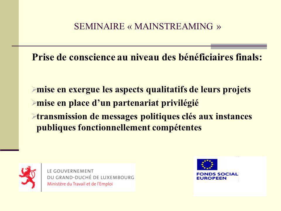 SEMINAIRE « MAINSTREAMING » Prise de conscience au niveau des autorités budgétaires: négociations entre le MTE et lIGF inscription des crédits dans le Budget des recettes et dépenses de lEtat pour lannée 2005