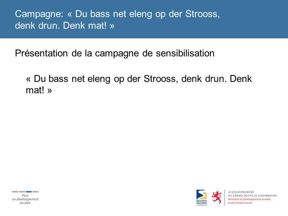 Campagne: « Du bass net eleng op der Strooss, denk drun.