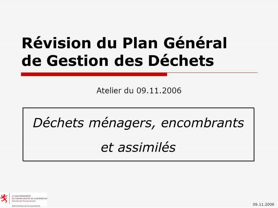 09.11.2006 Révision du Plan Général de Gestion des Déchets Déchets ménagers, encombrants et assimilés Atelier du 09.11.2006