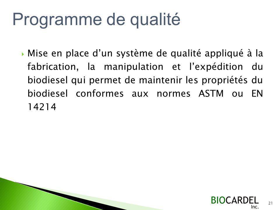 Mise en place dun système de qualité appliqué à la fabrication, la manipulation et lexpédition du biodiesel qui permet de maintenir les propriétés du biodiesel conformes aux normes ASTM ou EN 14214 21 Programme de qualité