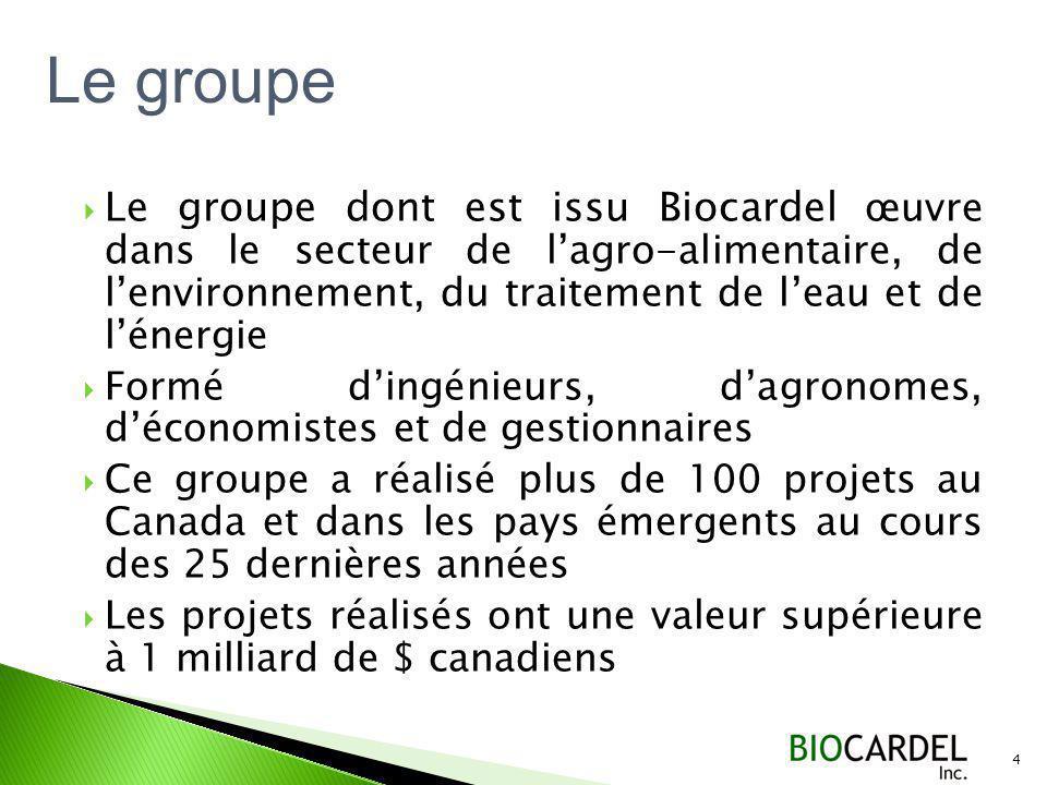 Le groupe dont est issu Biocardel œuvre dans le secteur de lagro-alimentaire, de lenvironnement, du traitement de leau et de lénergie Formé dingénieurs, dagronomes, déconomistes et de gestionnaires Ce groupe a réalisé plus de 100 projets au Canada et dans les pays émergents au cours des 25 dernières années Les projets réalisés ont une valeur supérieure à 1 milliard de $ canadiens 4 Le groupe