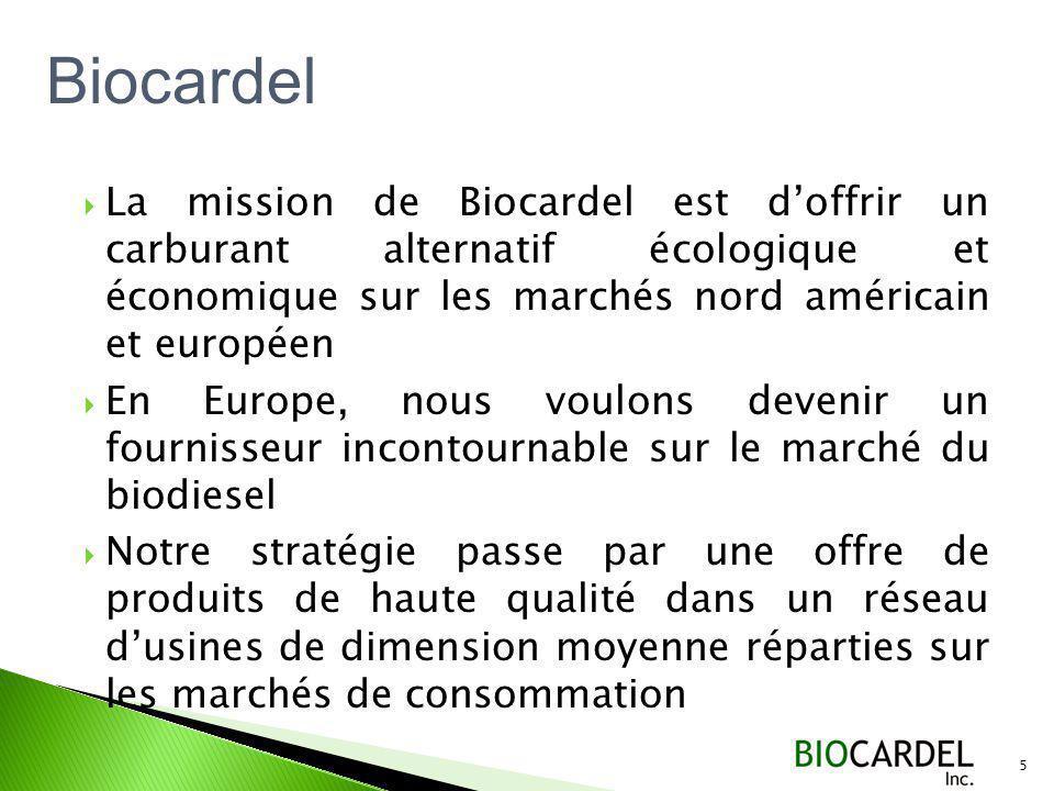 La mission de Biocardel est doffrir un carburant alternatif écologique et économique sur les marchés nord américain et européen En Europe, nous voulons devenir un fournisseur incontournable sur le marché du biodiesel Notre stratégie passe par une offre de produits de haute qualité dans un réseau dusines de dimension moyenne réparties sur les marchés de consommation 5 Biocardel