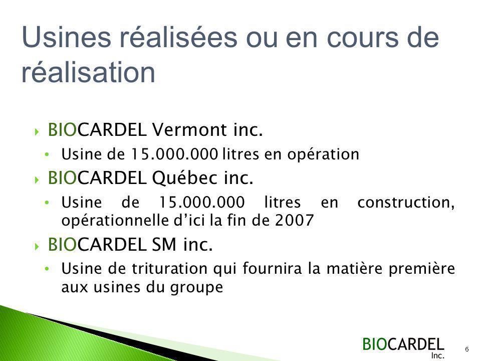 BIOCARDEL Vermont inc.Usine de 15.000.000 litres en opération BIOCARDEL Québec inc.
