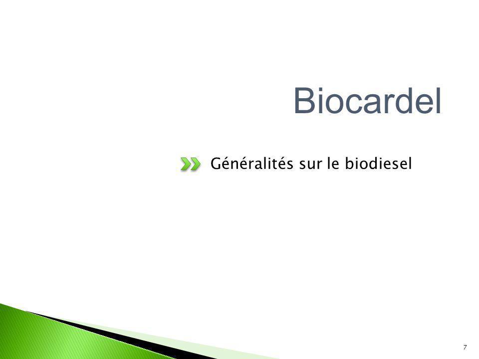 Généralités sur le biodiesel 7 Biocardel