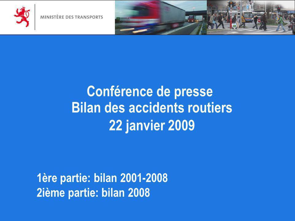 Bilan des accidents routiers 22 janvier 2009 Conférence de presse 1ère partie: bilan 2001-2008 2ième partie: bilan 2008