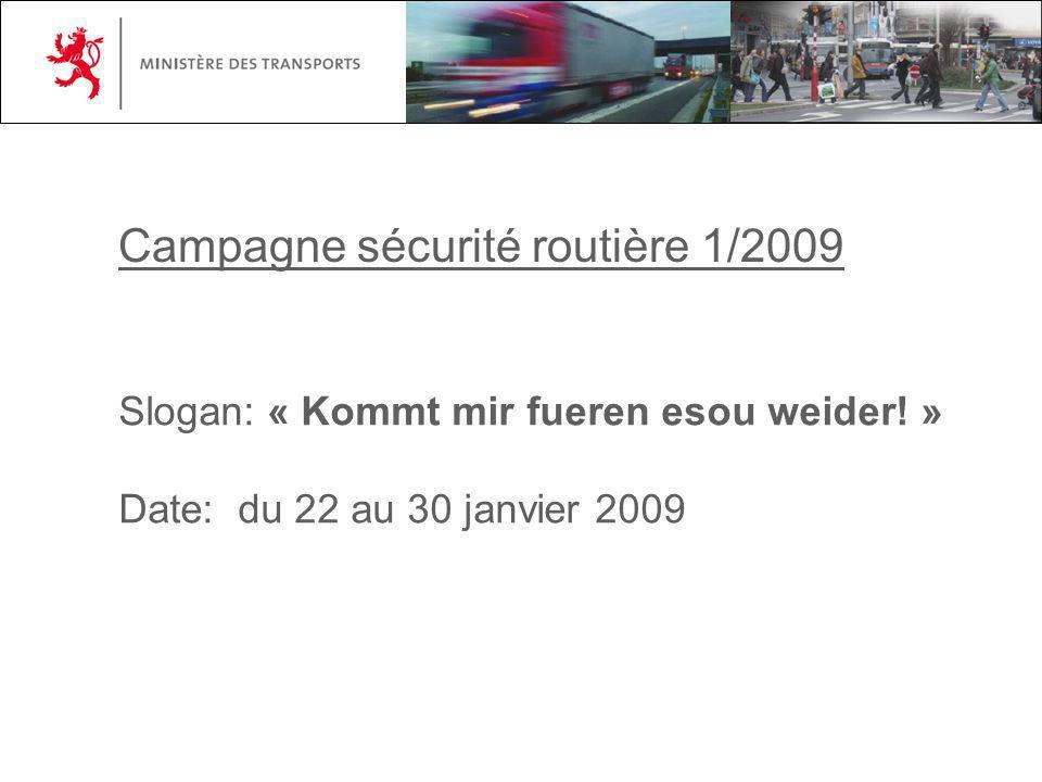 Campagne sécurité routière 1/2009 Slogan: « Kommt mir fueren esou weider! » Date: du 22 au 30 janvier 2009