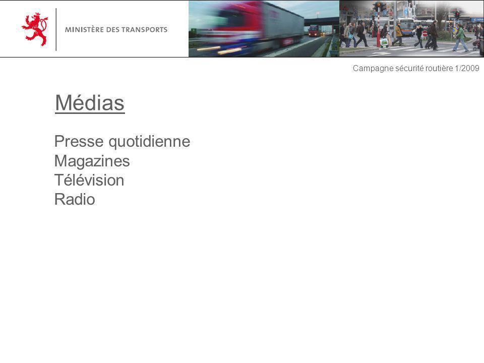 Campagne sécurité routière 1/2009 Presse quotidienne Magazines Télévision Radio Médias