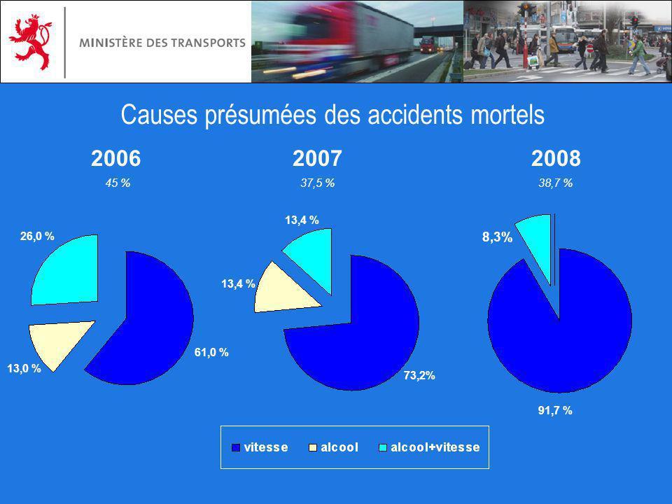 Causes présumées des accidents mortels 26,0 % 73,2% 8,3% 61,0 % 13,4 % 91,7 % 20062007 2008 13,0 % 38,7 %37,5 %45 %