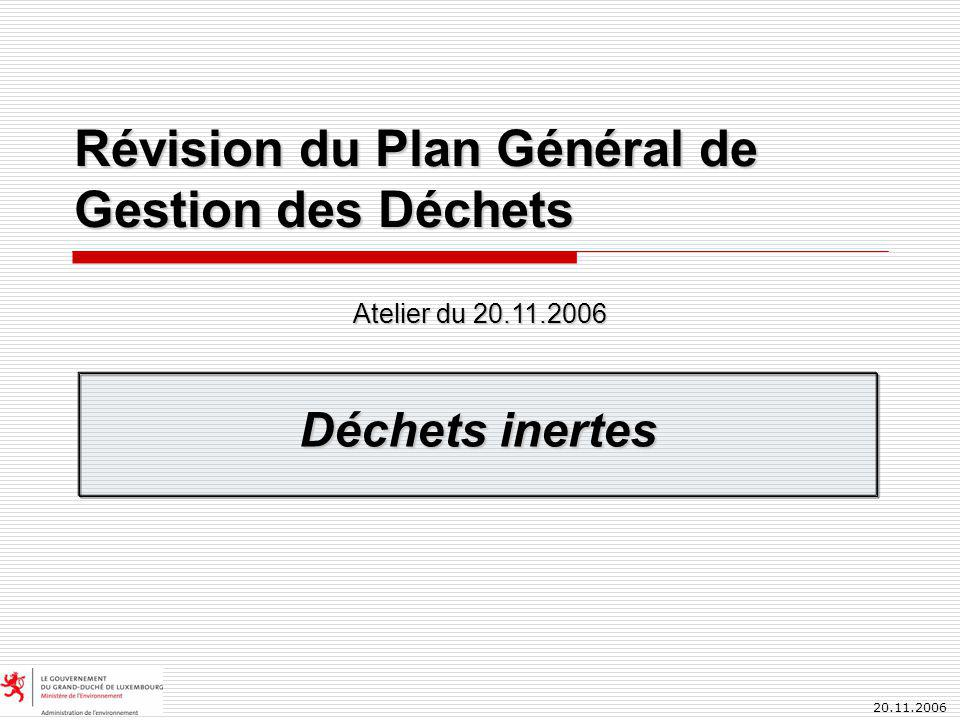 20.11.2006 Révision du Plan Général de Gestion des Déchets Déchets inertes Atelier du 20.11.2006
