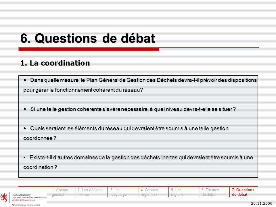 20.11.2006 Dans quelle mesure, le Plan Général de Gestion des Déchets devra-t-il prévoir des dispositions pour gérer le fonctionnement cohérent du réseau.