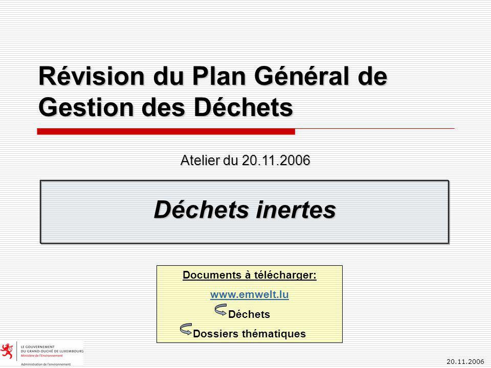 20.11.2006 Révision du Plan Général de Gestion des Déchets Déchets inertes Atelier du 20.11.2006 Documents à télécharger: www.emwelt.lu Déchets Dossiers thématiques
