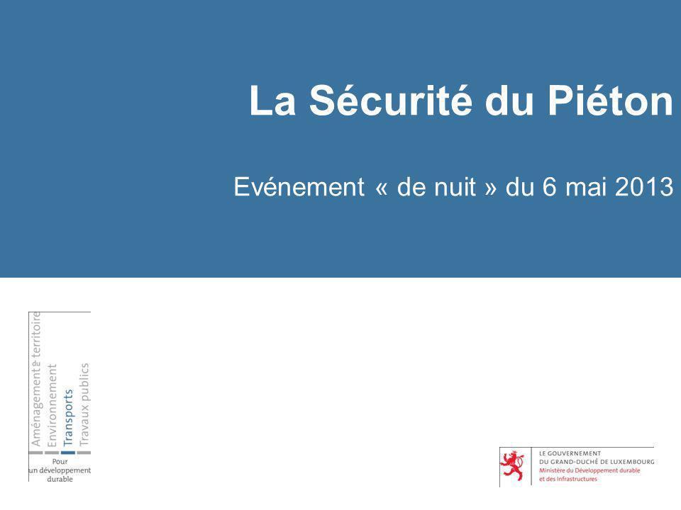 La Sécurité du Piéton Evénement « de nuit » du 6 mai 2013 Programme 1.Allocution de Monsieur le Ministre du Développement durable et des Infrastructures 2.Allocution de la Sécurité Routière asbl 3.