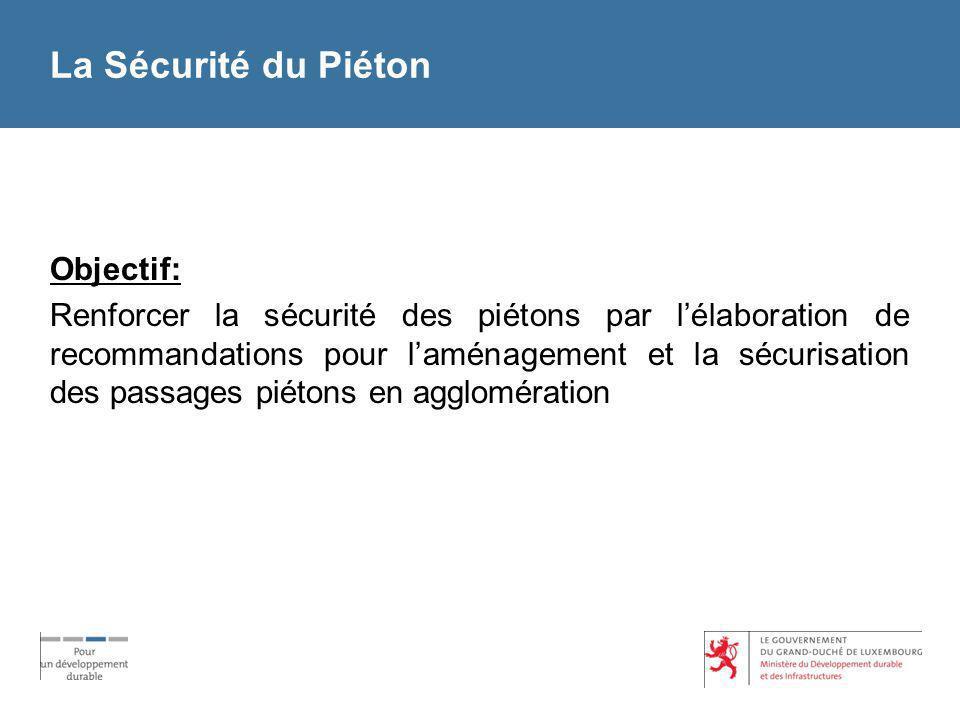 La Sécurité du Piéton Objectif: Renforcer la sécurité des piétons par lélaboration de recommandations pour laménagement et la sécurisation des passage