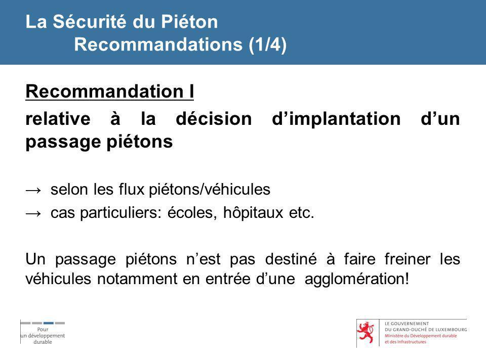 La Sécurité du Piéton Recommandations (1/4) Recommandation I relative à la décision dimplantation dun passage piétons selon les flux piétons/véhicules
