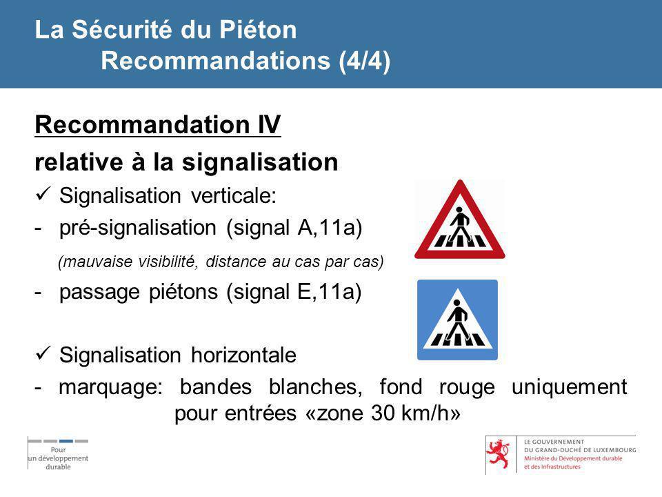 La Sécurité du Piéton Recommandations (4/4) Recommandation IV relative à la signalisation Signalisation verticale: -pré-signalisation (signal A,11a) (