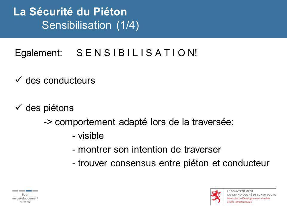 La Sécurité du Piéton Sensibilisation (1/4) Egalement: S E N S I B I L I S A T I O N! des conducteurs des piétons -> comportement adapté lors de la tr